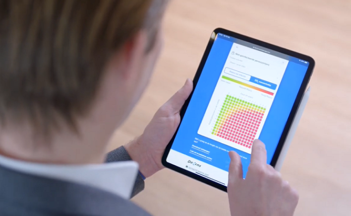 Output besmettingsrisico's in kleurcodes op tablet